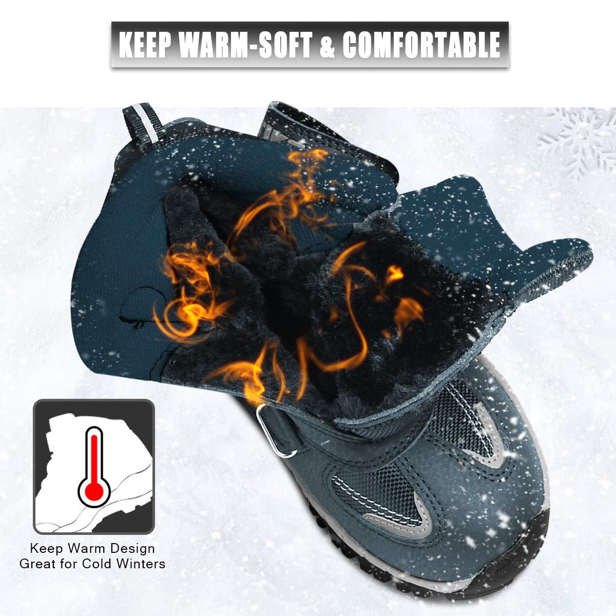 Kids Boots Boys Girls Winter Snow Sneaker Hiking Shoes Outdoor Walking Antiskid Steel Buckle Sole