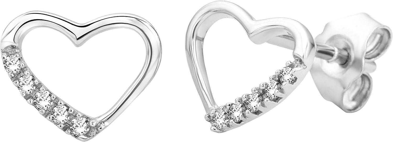 Miore - Pendientes de mujer de oro blanco (9k) con 10 diamantes