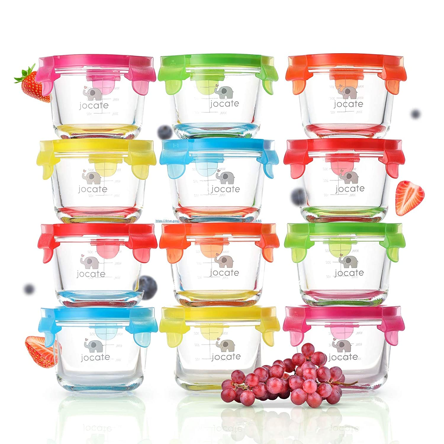 Glass Baby Food Storage Containers | 12 Set | Leakproof 4 oz Baby Food Jars | Freezer Storage | Dishwasher, Oven, Microwave Safe | Reusable Small Baby Food Containers | for Infant/Baby