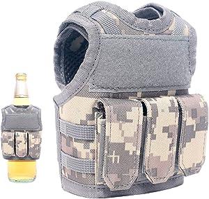 Lightbare Mini Tactical Vest Bottle Beer Vest Molle with Adjustable Straps, Beverage Holder for 12oz or 16oz Cans and Bottles, 7 Colors (ACU Camo with Pockets)