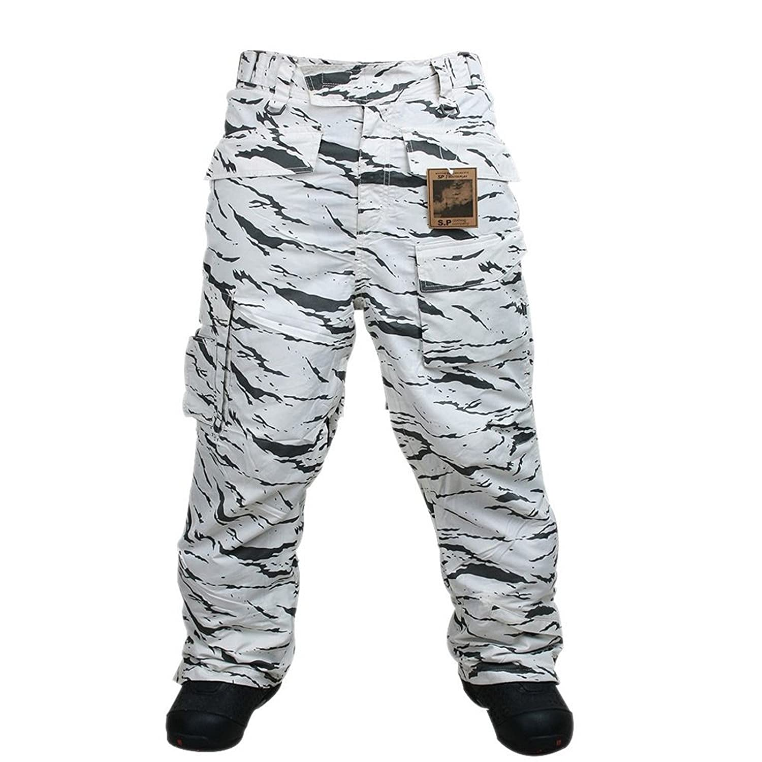 Southplay Mens Waterproof Ski-snowboard Military Pants Multi-colors White Camo Military)