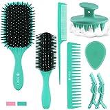 8 Pcs Hair Brush Kit For Men Women Set with Detangler 9-Row Brush, Combs, Scalp Massager, Face Brush and Clips, Great On Wet
