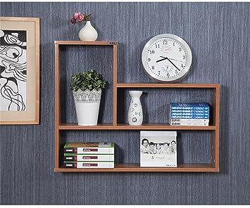 DELLT Wanddekoration Rack Einfache Regal Studentenwohnheim  Bodenregallagerregal Bücherregal Minimalist Modern (Farbe : Holzfarbe)