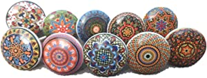 20 x Mix Vintage Look Flower Ceramic Knobs Door Handle Cabinet Drawer Cupboard Pull Mandala Xfer New