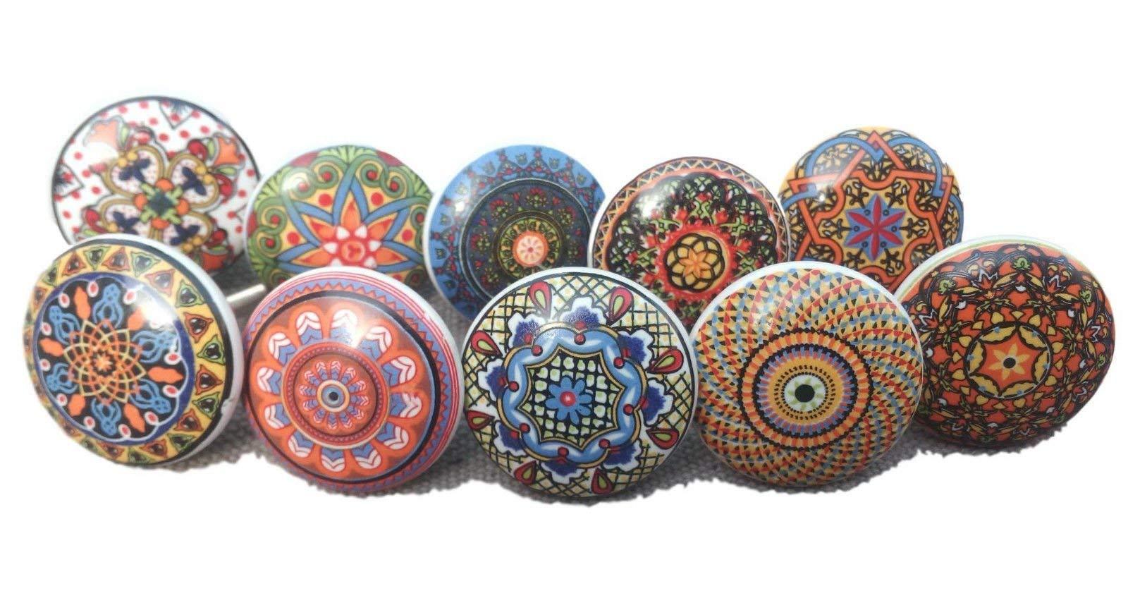 10 x Mix Vintage Look Flower Ceramic Knobs Door Handle Cabinet Drawer Cupboard Pull Mandala Xfer New
