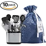 """Large Premium Fabric Gift Bags Organza with lining and Ribbon Holiday Christmas - Blue Polka Dot Print - 10"""" x 15"""" For medium size gifts like gift sets, home decor, electronics, toys ( Pack of 10 )"""