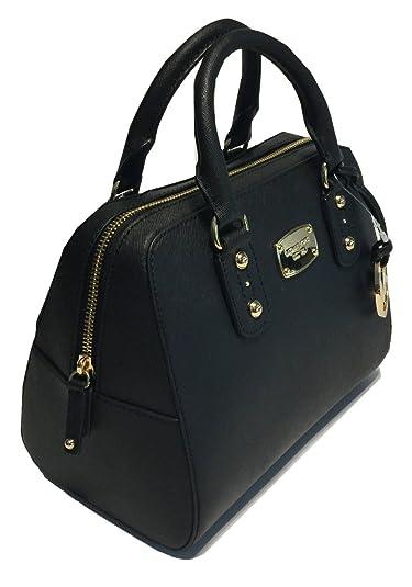 Michael Kors Small Satchel Saffiano Leather (Black): Handbags ...