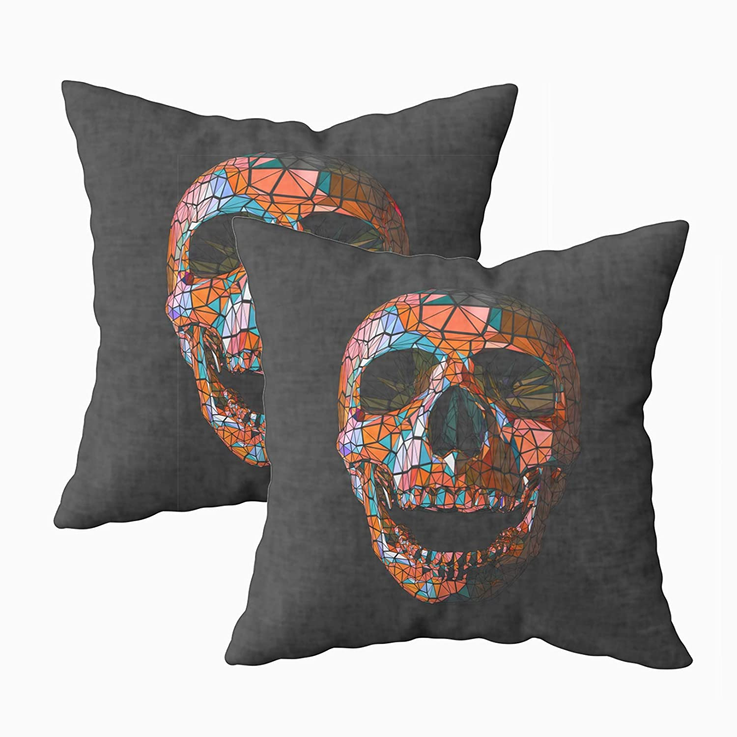 Remarkable Capsceoll Throw Pillow Covers 2Pcs Stylized Low Orange In Tribe Style Dark Background Skull 18X18 Pillow Covers Home Decoration Pillow Cases Zippered Spiritservingveterans Wood Chair Design Ideas Spiritservingveteransorg