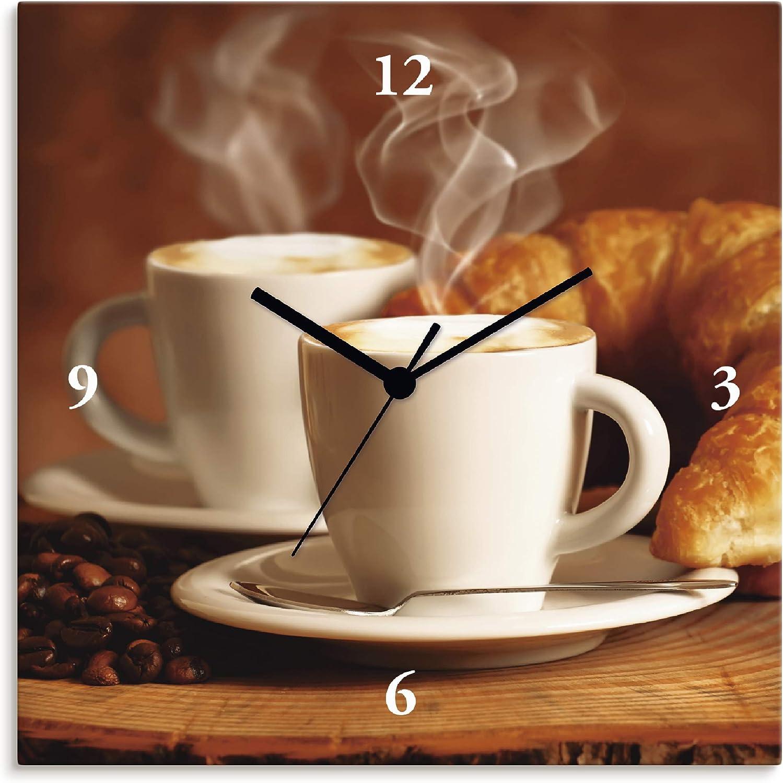 Artland Wanduhr Glas lautlos Ø 30 cm Quarz Kaffee Coffee Cafe Kaffeetasse T5XO