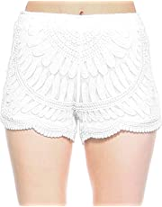 Fashionazzle Women's Casual Summer Beach Shorts Solid Shorts Lace Crochet Shorts