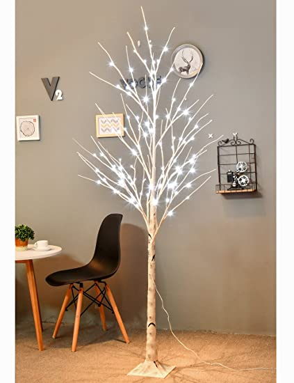bolylight updated version led birch tree 6ft 96l led christmas decorations lighted tree decor - Birch Christmas Decorations