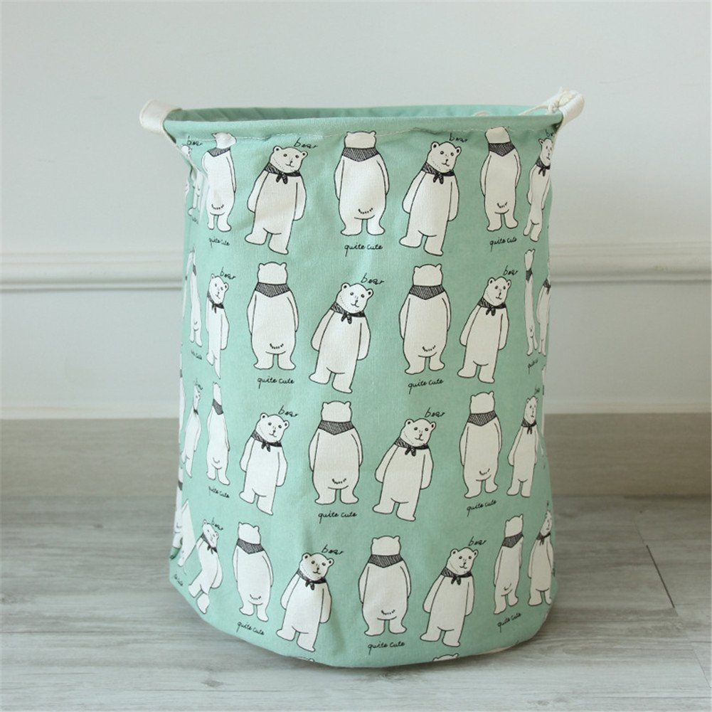 Yiliag Animals Cartoon Laundry Hamper Linen Cotton Laundry Basket Toy Clothes Laundry Bin-Green/Bear