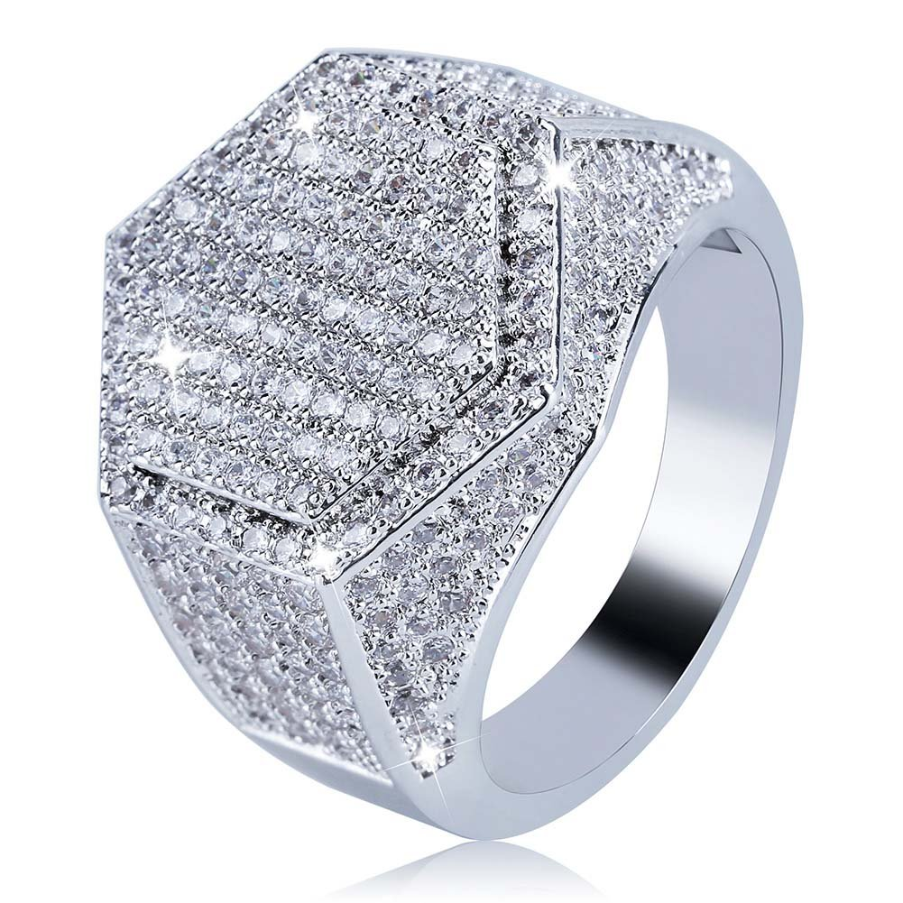 JINAO Iced Out CZ hexagon Mens Bling Ring Hip Hop (White Gold, 10)