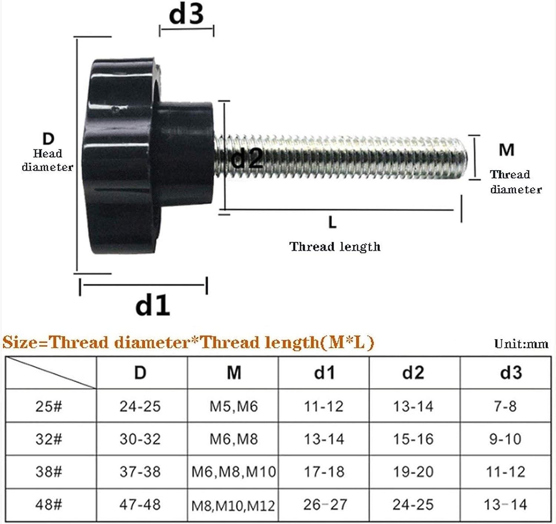 Size : 25mm 5pcs Color : M6 Head 25mm DWhui Star Shape Thread Clamping Handle Bolt Hand Knob Tightening Screw M4 M5 M6 M8 M10 M12