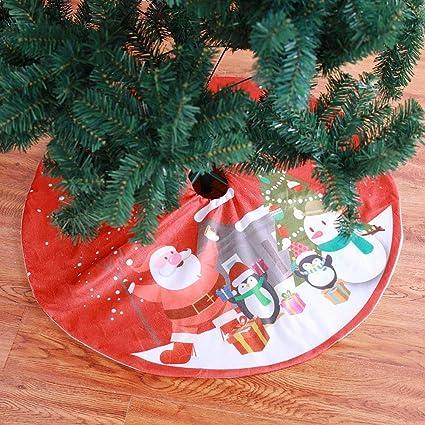90cm Large Christmas Xmas Tree Skirt Base Cover Red Santa Elk Decoration New D6