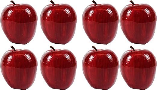 3 Large Best Artificial Red Apples Decorative Realistic Plastic Kitchen Fruit