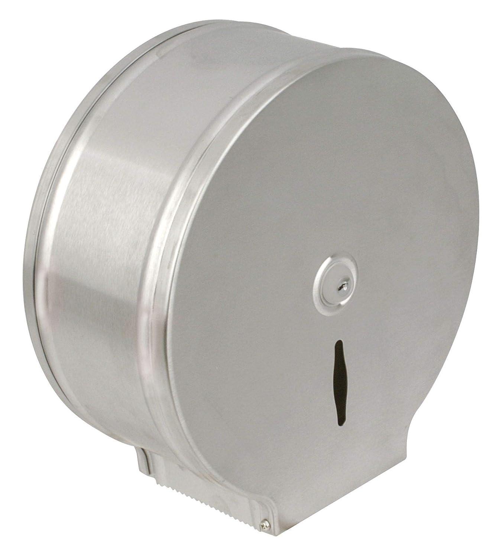 Jvd Brico-materiaux 305902 - Dispensador de papel higiénico para rollos de 400 m metálico color blanco: Amazon.es: Bricolaje y herramientas