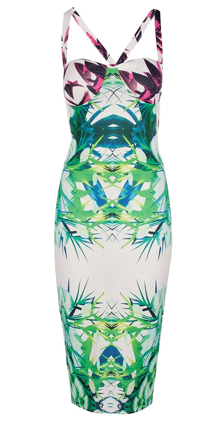 Forever Womens Celebrity Inspired Tropical Print Cross Back Bodycon Party Midi Dress