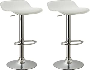 Christies Home Living Contoured Contemporary Backless Armless Swivel Height Adjustable Hydraulic Lift Chrome Base Bar Stool with Footrest, Set of 2 (White)