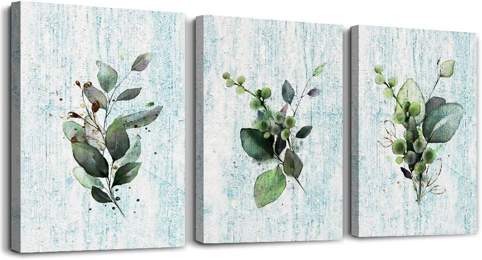 modern style Green leaves plants Canvas wall art for bedroom bathroom wall decor Watercolor painting Framed posters Canvas Prints for living room office Home Decoration mural kitchen wall painting