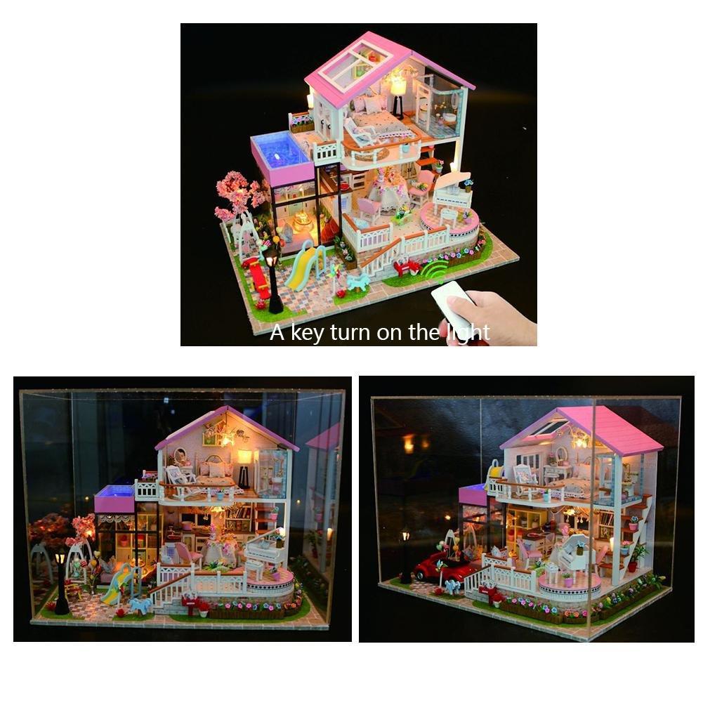 Mittelgro/ßes Ferienvilla DIY Dollhouse W/ündersch/ön Gestaltetes Modell Weihnachts Kinder Spielzeug Geburtstag Geschenk Godbless Puppenhaus DIY Mit LED Licht Batterieplatine