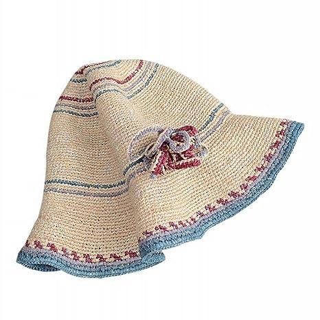 AN Sombrero Femenino Playa Verano Sombreros Sombrero de Paja Sombrero de Sol  Vacaciones Vacaciones Visera Plegable 1f5c6ff8d35