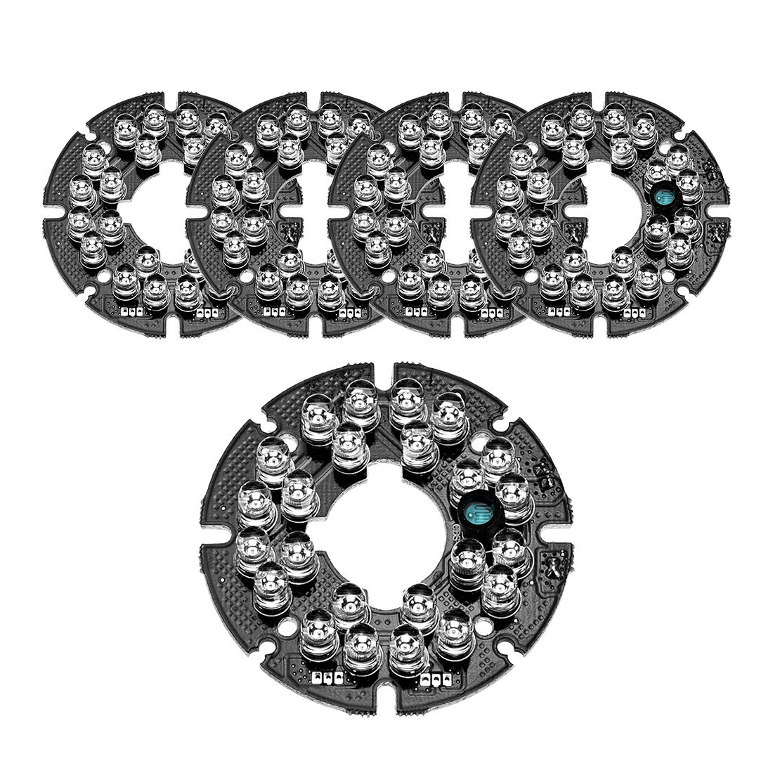 uxcell 24 LEDs 850nm IR Infrared Board 60 Degree Round Plate IR Illuminator Board Bulb for CCTV Security Camera 5pcs by uxcell