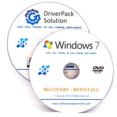 Windows 7 Home Premium 64 Bit Recovery Repair Restore plus Drivers Pack DVD  No Internet Required Disc