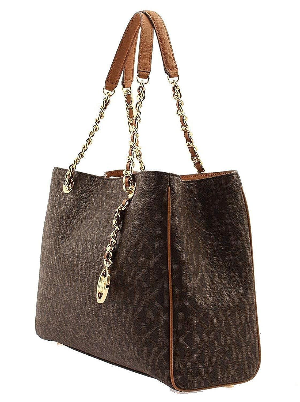236687f6d0d4 Michael Kors Women's Signature PVC Susannah Brown Large Tote Satchel:  Amazon.in: Shoes & Handbags