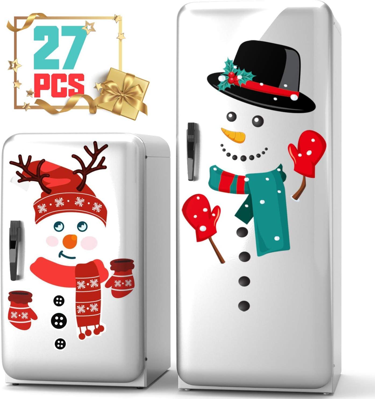 KD KIDPAR Snowman Refrigerator Magnets Set of 27, Cute Funny Fridge Magnet Refrigerator Stickers Holiday Christmas Decorations for Fridge, Metal Door, Garage, Office Cabinets (Large)