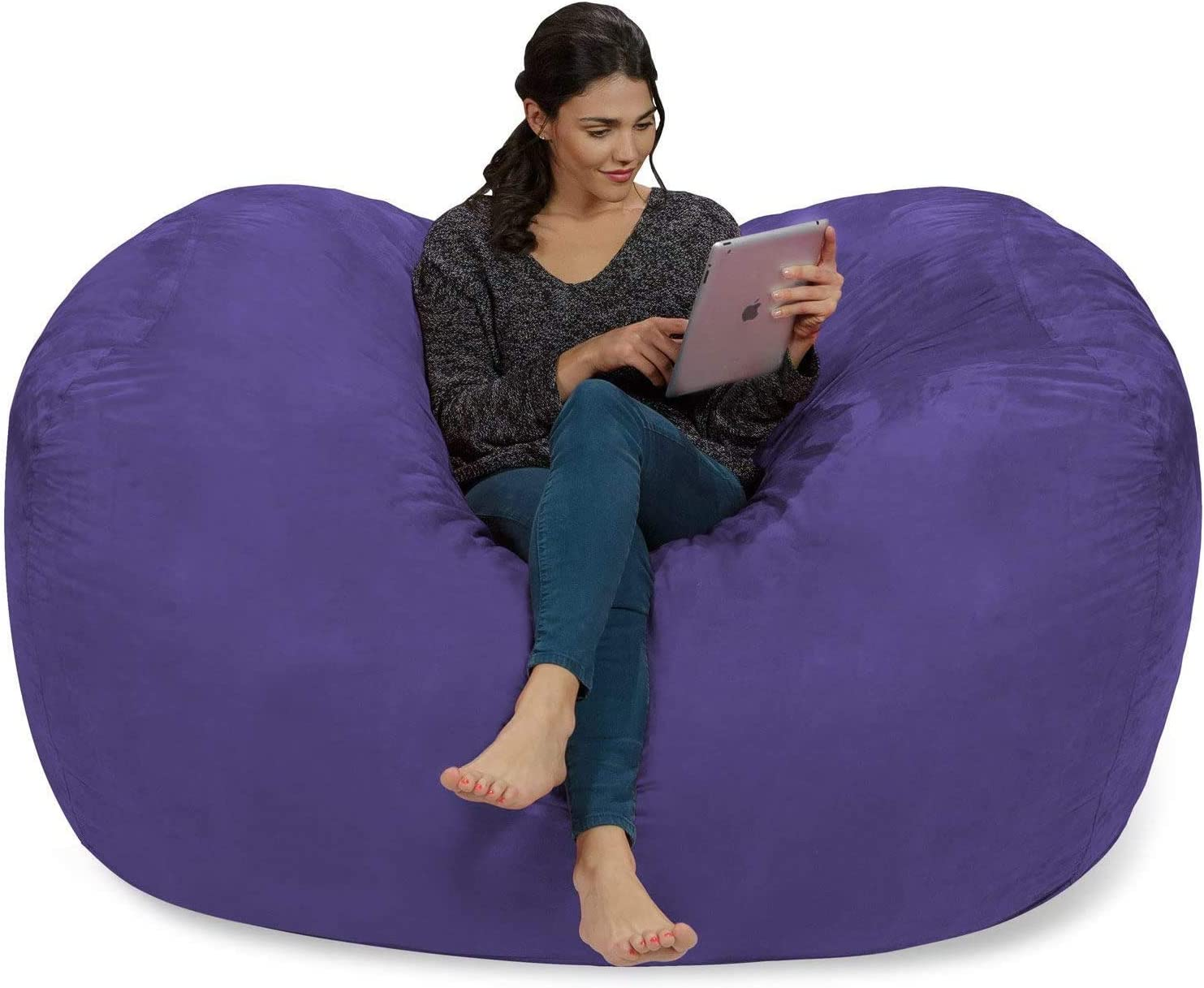 Ink Craft 6 Foot Bean Bag Chair Cover Only, Large Washable Furniture Bean Bag Replacement Cover Without Bean Filling (Purple)