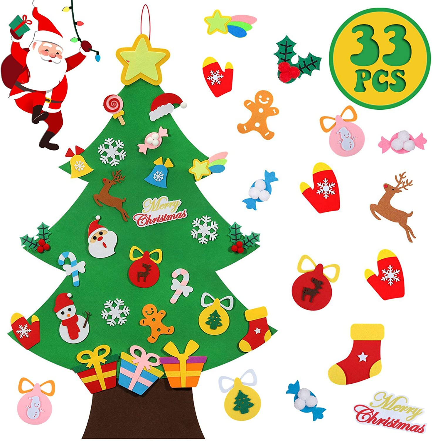 Lafefo Felt Christmas Tree - 3.6 FT 3D DIY Set for Kids with 33 Pieces of Ornament Decor, Wall Hanging Christmas Tree Decorations