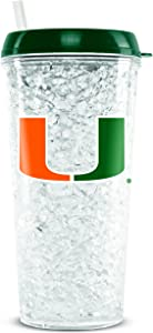 NCAA Miami Hurricanes 16oz Crystal Freezer Tumbler with Lid and Straw