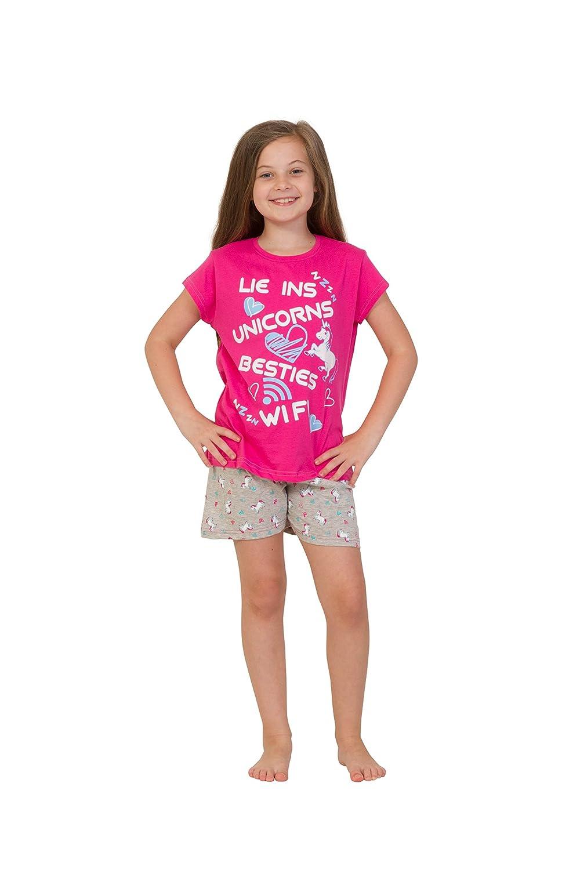 ThePyjamaFactory - Pijama corto para niñas, diseño con texto en inglés «Lie Ins Unicorns Besties Wifi», de 9 a 16 años, color rosa Rosa rosa 15-16 Años: ...