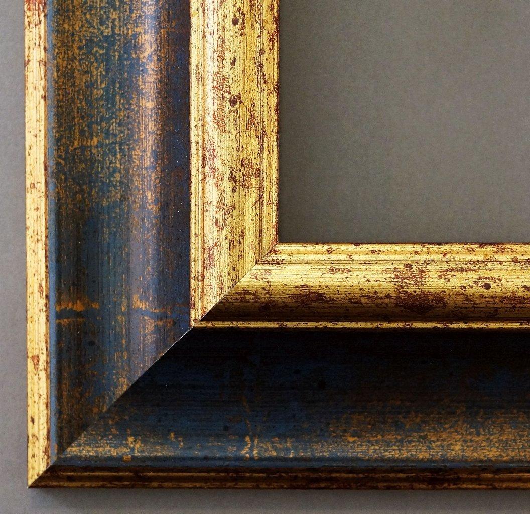 Bilderrahmen Acta Blau Gold 6,7 - LR - 40 x 50 cm - 500 Varianten - Alle Größen - Handgefertigt - Galerie-Qualität - Antik, Barock - Fotorahmen Urkundenrahmen Posterrahmen