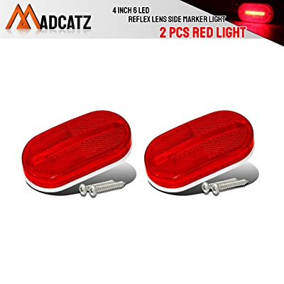 Meerkatt (Pack of 2) Oval Red LED 6 Diodes Rectangle Trailer Marker Lights Surface Mount Rainproof Side Rear Tail w/Removable Lens for Truck Lorry Pickup Caravan Jeep SUV Coach 12v DC Universal TT12: Automotive