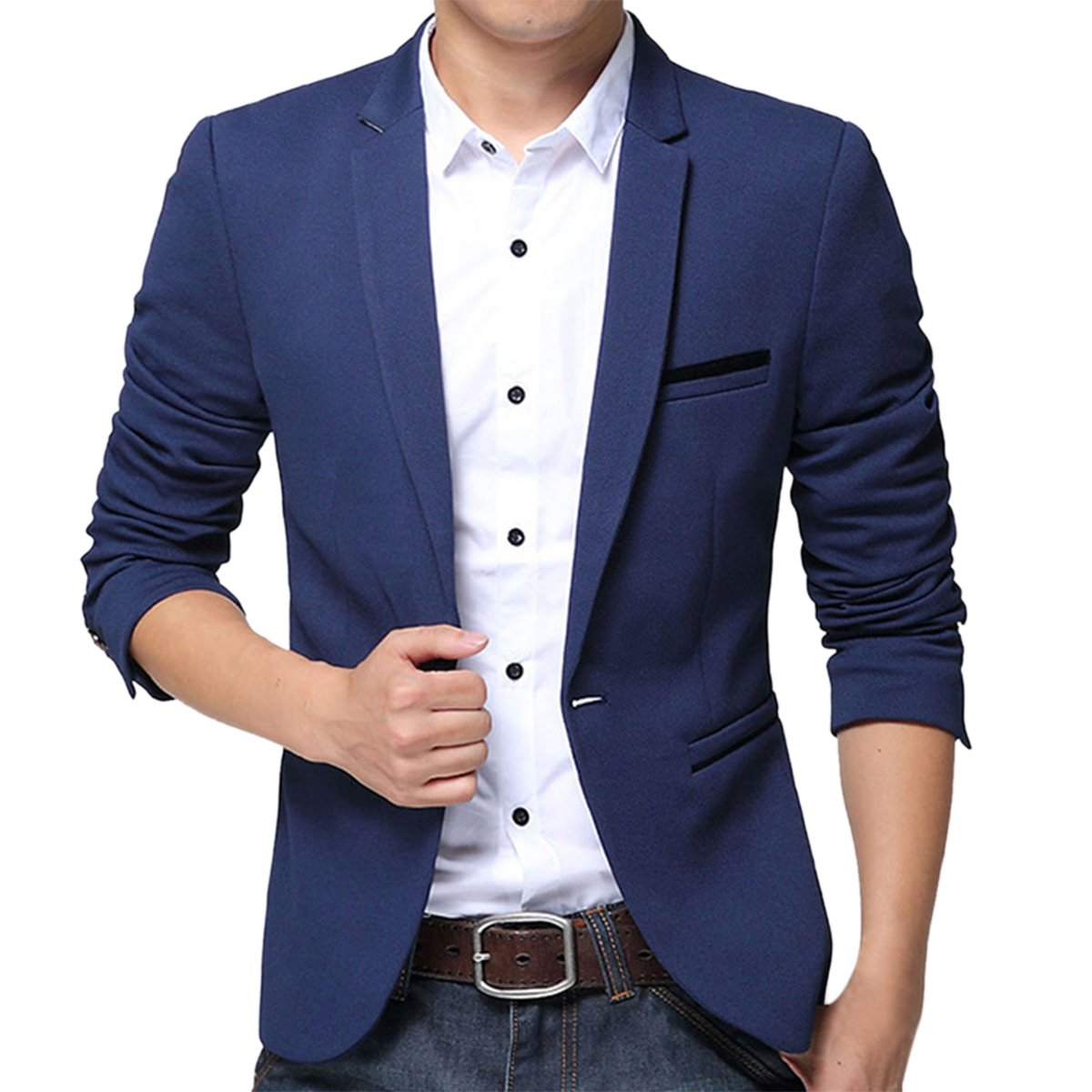 Pishon Men's Slim Fit Suits Casual One Button Flap Pockets Solid Blazer Jacket, Dark Blue, Tag Size 2XL=US Size S