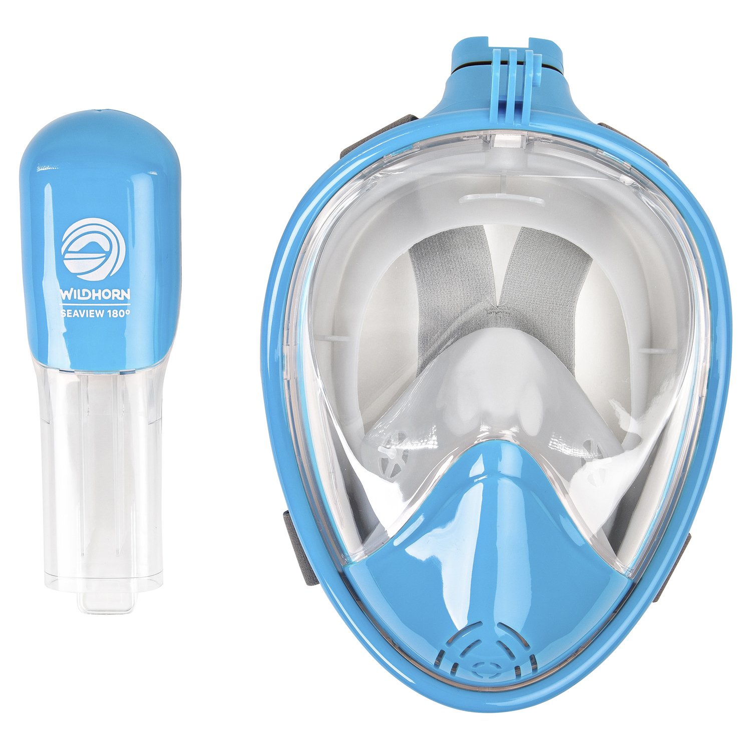 Seaview 180° GoPro Compatible Snorkel Mask- Panoramic Full Face Design. See More With Larger Viewing Area Than Traditional Masks. Prevents Gag Reflex with Tubeless Design (Aqua, S/M) by WildHorn Outfitters (Image #8)