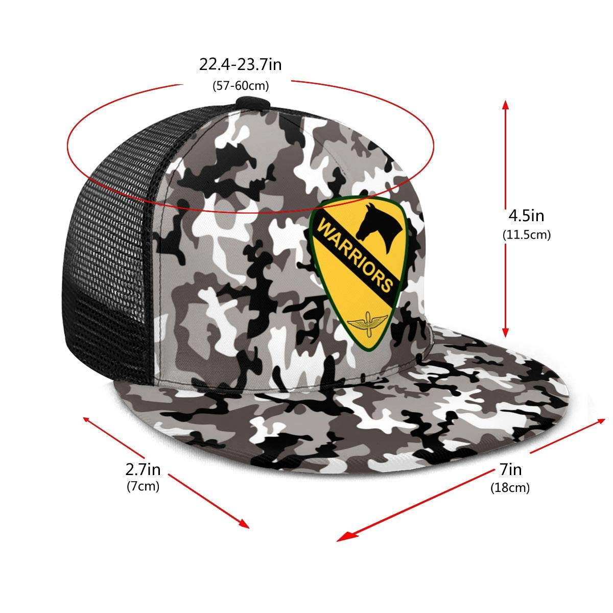 US Army 1st Cavalry Division Classic Grid Cap Flat Along Baseball Hat Snapback Unisex Hat Adjustable