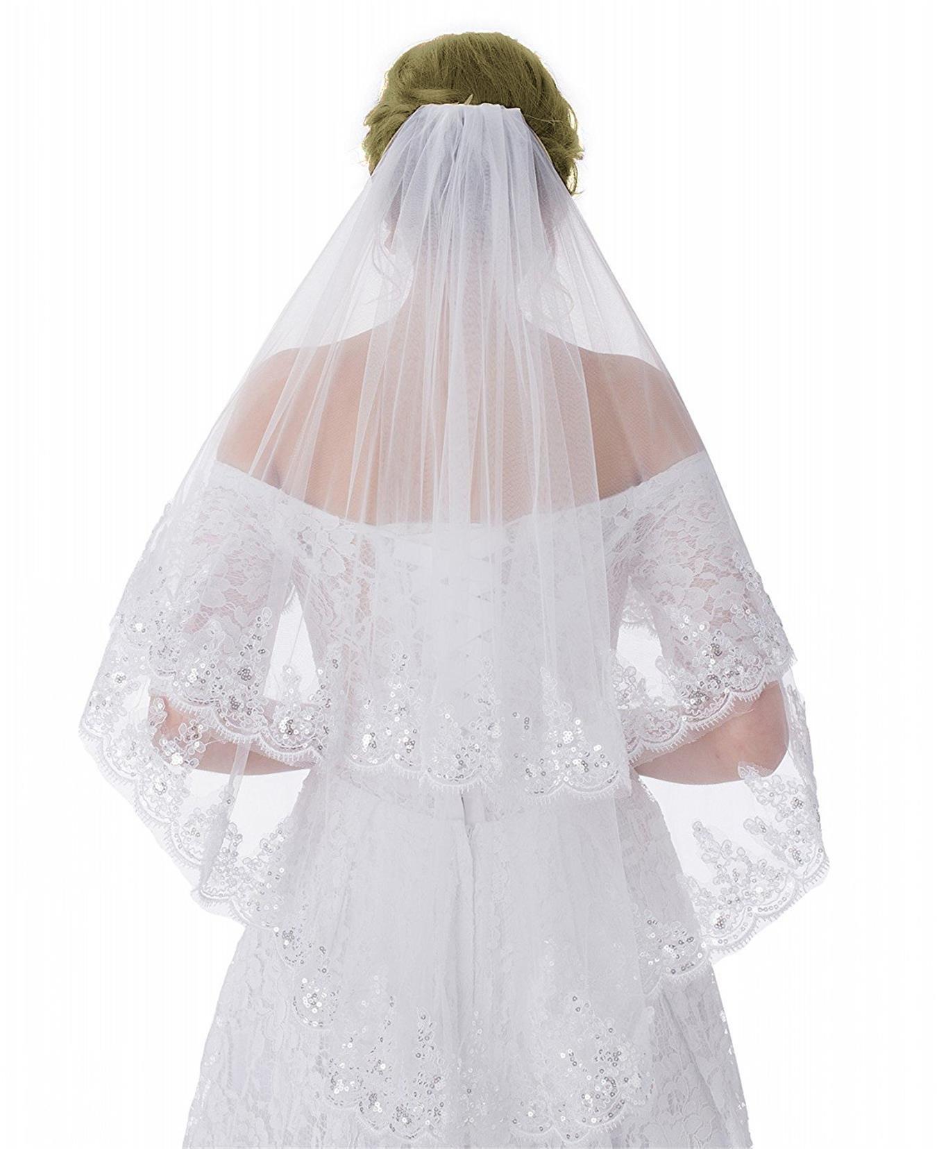 WDING 2 Tier Lace Sequins Appliqued Edge Bridal Wedding Veil Fingertip Length 35'' (white)
