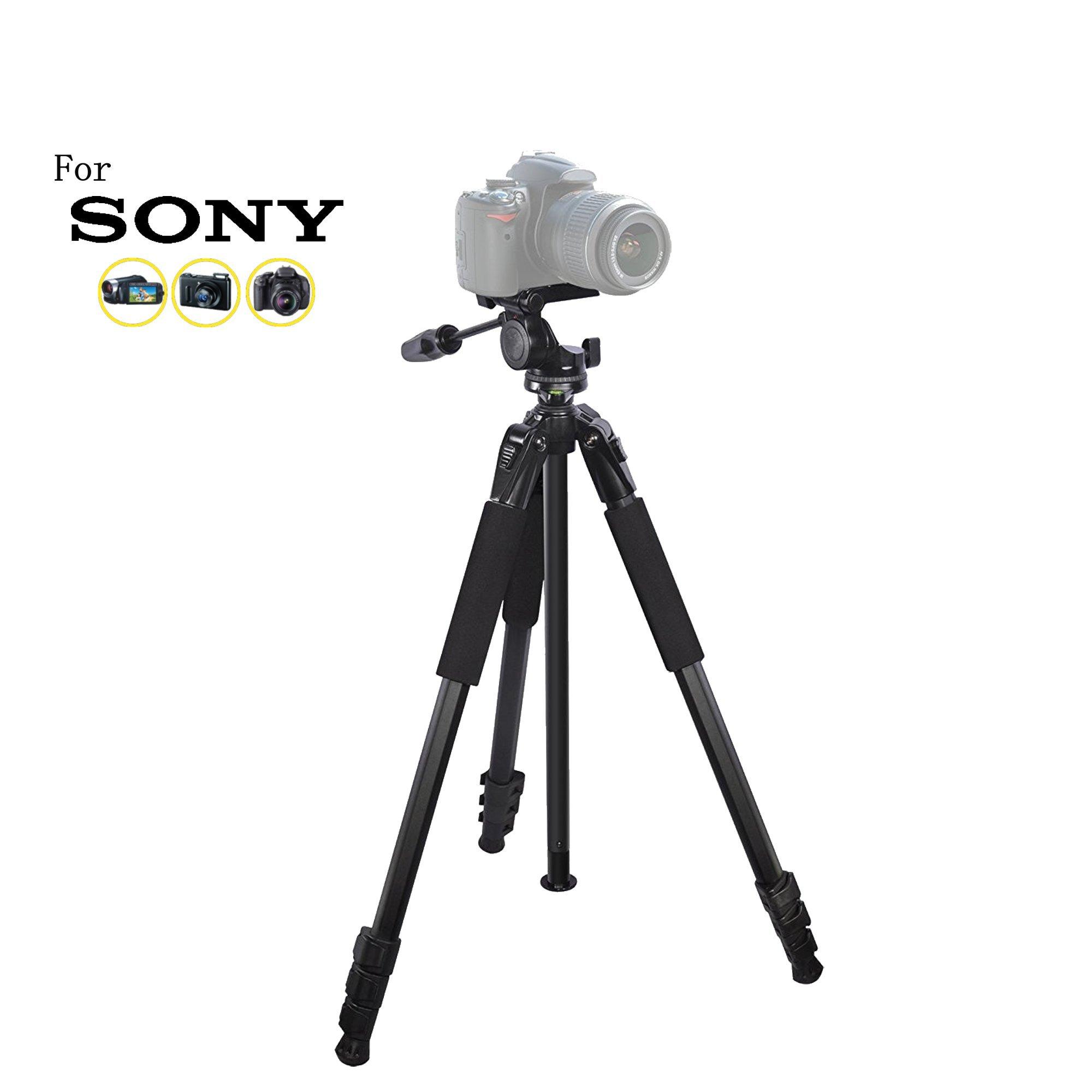 80 inch Heavy Duty Portable tripod for Sony Cyber-shot DSC-R1, DSC-RX1, DSC-RX10, DSC-RX10 II, DSC-RX10 III, RX10, RX100 II Pro Digital Cameras: Travel tripod by iSnapPhoto