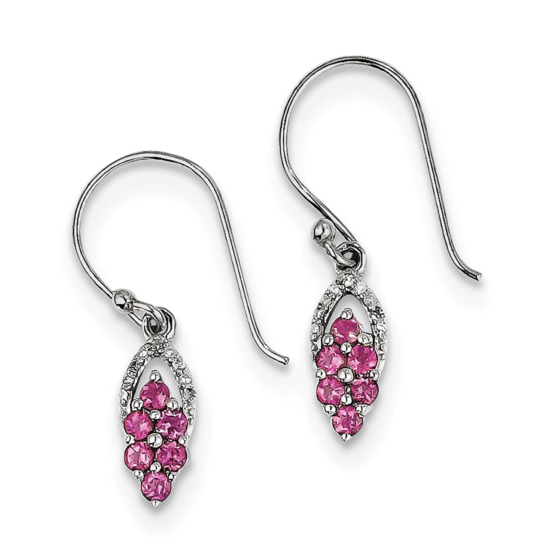 925 Sterling Silver Rhodium-plated Pink Tourmaline /& Diamond Dangle Earrings