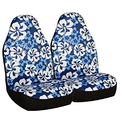 Allison 67-0346BLU Blue Hawaiian Print Universal Bucket Seat Cover - Pack of 2: Automotive