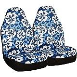 Allison 67-0346BLU Blue Hawaiian Print Universal Bucket Seat Cover - Pack of 2
