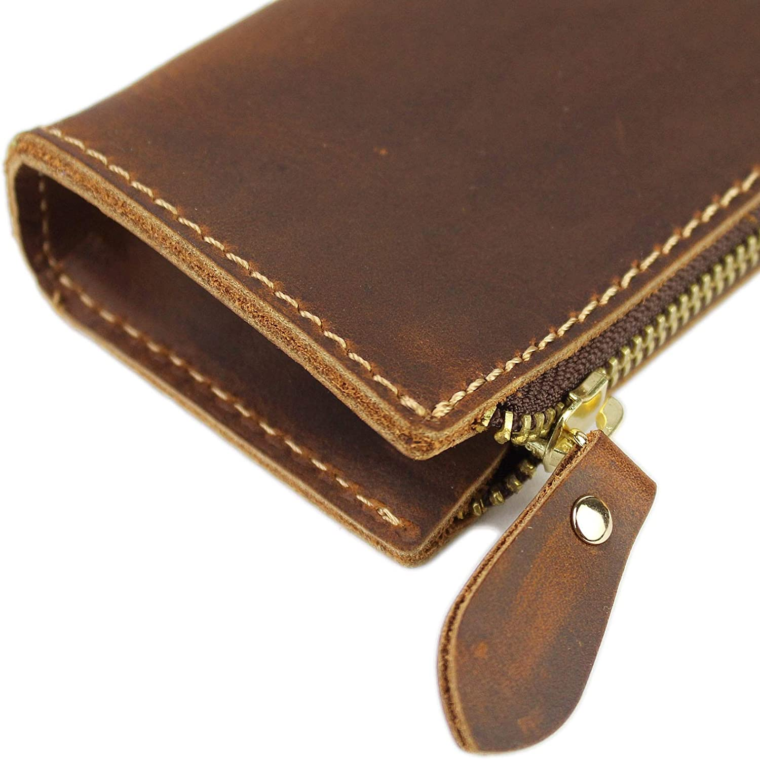 Work /& Office A Style Coffee Leather Pencil Case Zippered Pen Pouch for School