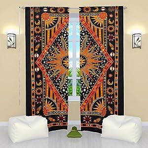 Burning Sun Hippie Gypsy Home Decor Window Treatments & Valance Bedroom Decor Living Room Decor Handmade Wall Hanging Boho Door Cotton Bohemian Indian Mandala Tapestry Curtain Balcony Window Sheer