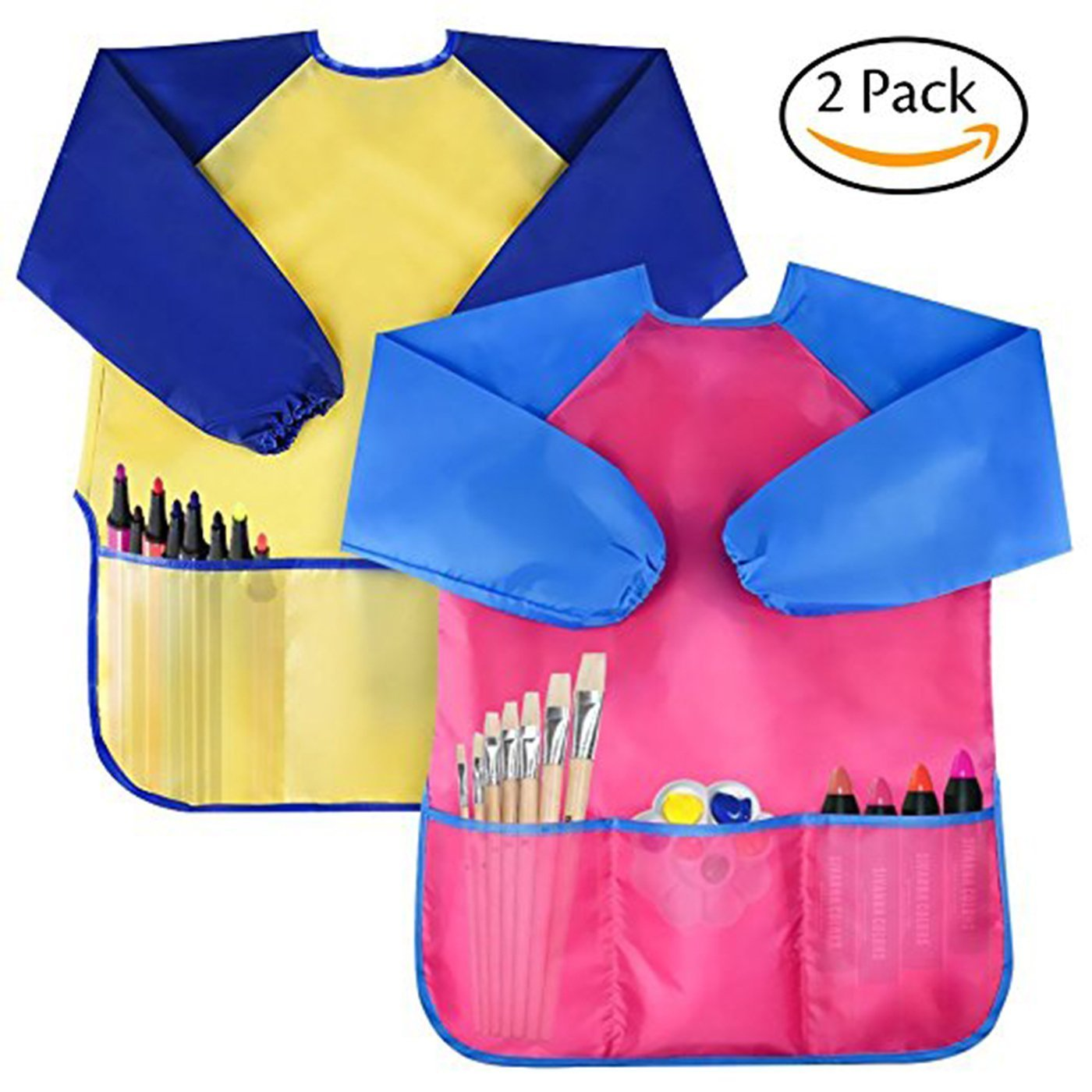 YuKing Kids Art Smocks,Children Waterproof Artist Painting Aprons Long Sleeve with 3 Pockets for Age 2-6 Years, set of 2 (Yellow+Rose)