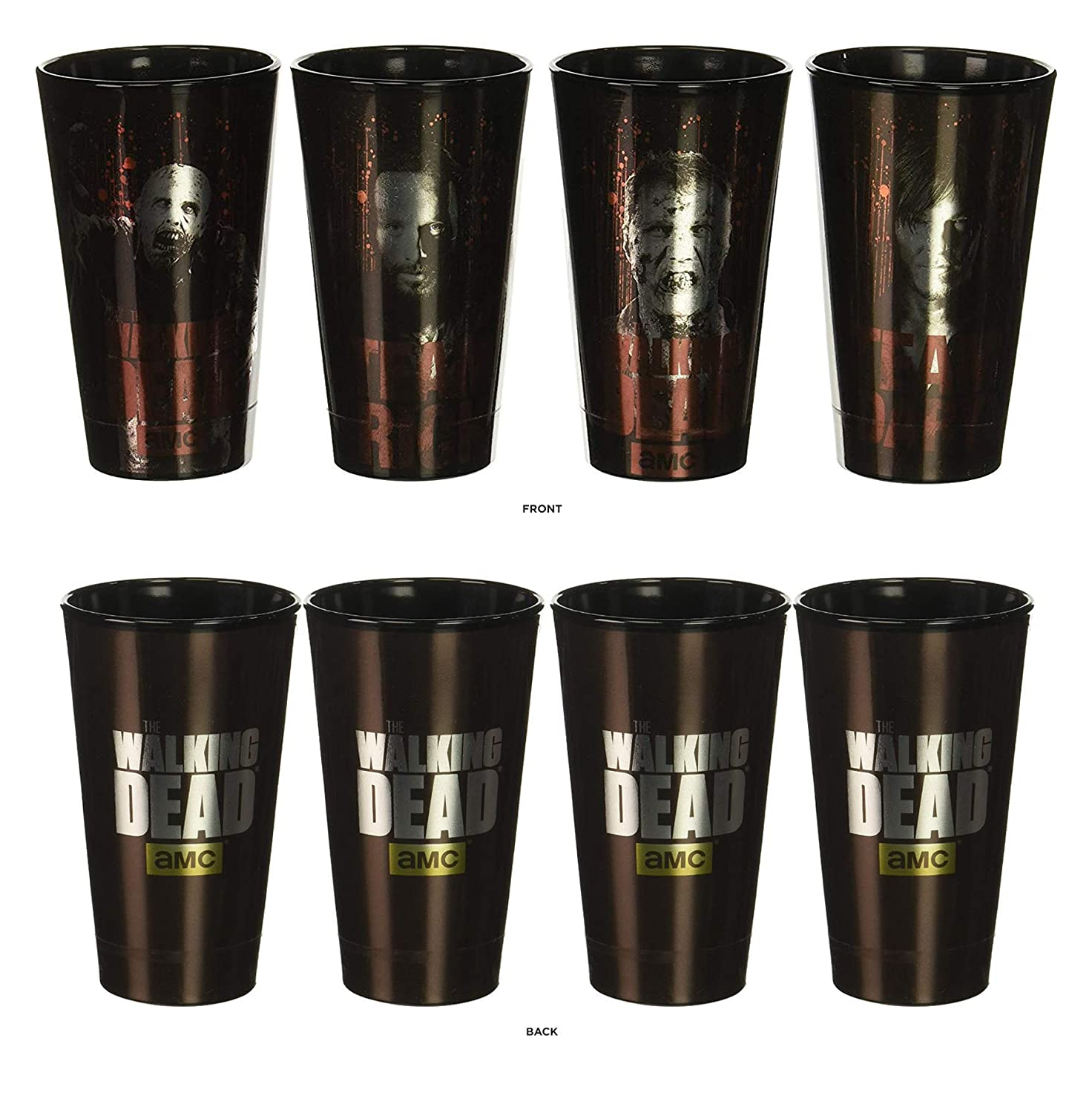 The Walking Dead Daryl, Rick, and Zombies Metallic Foil Pint Glasses set of 4 by JUST FUNKY: Amazon.es: Hogar