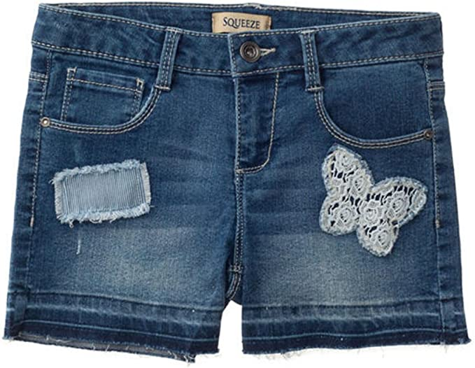 Girls/' Stretch 5 Pockets Premium Embellished Stretch Denim Shorts