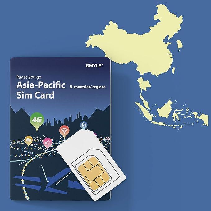 GMYLE Tarjeta SIM prepaga China, Corea, Tailandia, 5GB / 14 días, Asia Pacífico 9 países Datos de Viaje 4G LTE 3G, Reutilizables (sin Mensaje y Llamada, teléfono Desbloqueado): Amazon.es: Electrónica